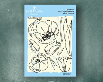 "Tulips Set of Stamps 4x6"" Clear Photopolymer, Clear Stamps, Clear Rubber Stamps, Stamp Set, Flower Stamps"