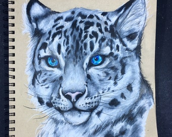 Original Snow Leopard Drawing in Colored Pencil