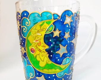 Sun & Moon Mug Day Night Painted Coffee Mug Christmas gift mug  Hand Painted Glassware