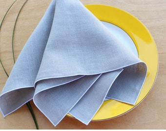 Dove Gray Linen Napkins, Cloth Dinner Napkins, Light Gray Napkins, Wedding Napkins, Choose Your Trim Color, Set of 4, 20""