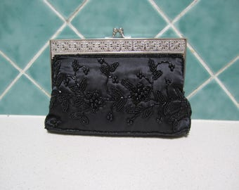 Gorgeous Vintage  Beaded Black Clutch/Handbag - Satin
