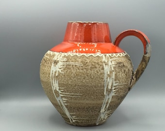 Carstens Tönnieshof 698 - 23  red, beige, white  Vintage Collectors vase  Mid Century Modern 1960s / 1970s  West Germany.