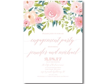 PRINTABLE Engagement Party Invitation, Floral Engagement Party Invitation, They're Engaged, Printable Engagement Party Invitation #CL281