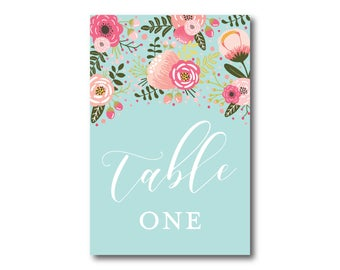 Wedding Table Numbers, Floral Table Numbers, Printed Table Numbers, Wedding Table Numbers, Table Number Sign, Reception Table Number #CL336