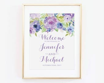 Printed Wedding Welcome Sign, Floral Welcome Wedding Sign, Welcome Wedding Sign, Floral Wedding Sign, Wedding Sign, Reception Sign #CL330