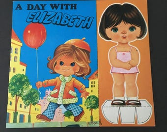 Vintage Paper Doll. A Day With Elizabeth. 1980s Paper Doll.