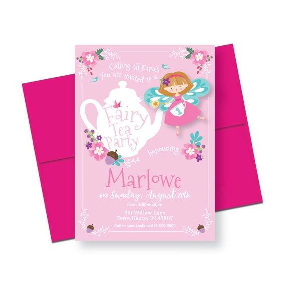 Fairy Tea party Invitation Girls Fairy Tea Party Floral – Fairy Tea Party Invitations