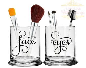 Makeup brush holders - Round - Face Eyes - Makeup Brush Jars - Makeup Artist Gift - Cosmetologist Gift - Cosmetic Brushes Organizer - Set
