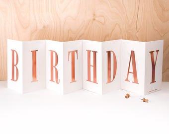 Birthday Card; Concertina Birthday Card; Banner Birthday Card; Luxury Rose Gold Foil Concertina Card; Rose Gold Card; Keepsake Card; CC018