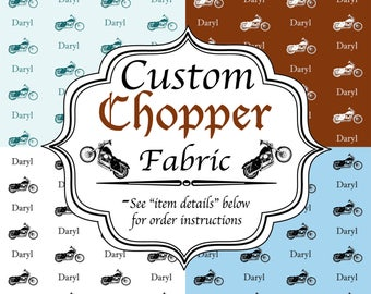 Custom Harley Fabric - Any Name, Quote, or Phrase - Choose from 44 Colors and 10 Fonts for a unique personalized sewing project or gift