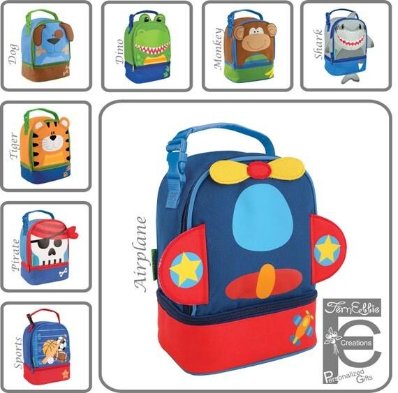 Personalized Lunch Box, Stephen Joseph, Monogram Lunch Pals, Tiger, Airplane, Pirate, Shark, Monkey, Dino, Dog, Sports, Baseball, Lunch Bag