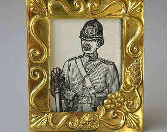 Beautiful miniature antique brass photograph frame photo holder decorated stylised vines