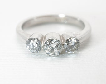 Vintage Three Stone Diamond Ring Bezel Set In 18k White Gold