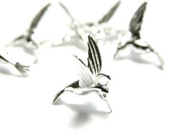 1 pc. 3D Solid Sterling Silver 925 Hummingbird Charm Pendant 15 mm