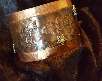 Copper reticulated, textured, and cold soldered cuff