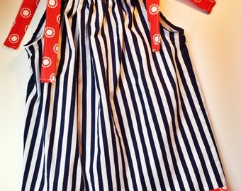 Pillowcase 2T dress, red white and blue, patriotic, nautical dress, striped dress, summer dress, 4th of July, Memorial Day, picnic