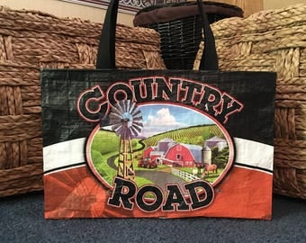 """Recycled, Repurposed """"COUNTRY ROAD"""" Livestock Feed Tote Bag With Commercial Webbing Straps GROCERY Bag, Reusable Bag"""