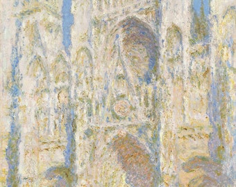 Claude Monet: Rouen Cathedral, West Façade, Sunlight. Fine Art Canvas. (04086)