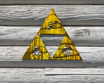 The Legend of Zelda Triforce with Goddess Symbols Metal Art