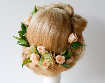 Hair flowers, flower halo, peach roses, ivy, ferns, hydrangea, garden, preserved dried flowers, flower hair pins, flower crown, REAL flowers