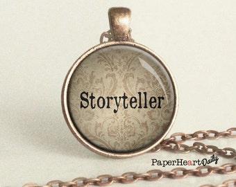 Storyteller Necklace - Storyteller - Author Gift - Gift for Writer - Writing Jewelry -  (B4133)