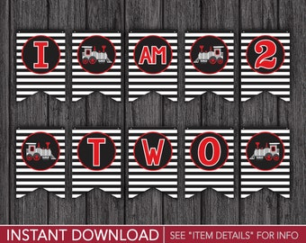 """Train High Chair Banner - """"I AM 2"""" Train Birthday Party Decorations - Printable Digital File - INSTANT DOWNLOAD"""