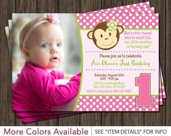 Mod Monkey Birthday Invitation