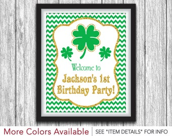 """St. Patrick's Day Birthday Party Sign   Printable St. Patty's Day Decorations   8""""x10"""" Welcome Sign   DIY Digital File"""