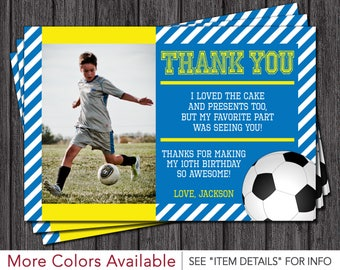 Soccer Birthday Thank You Card - Blue and Yellow
