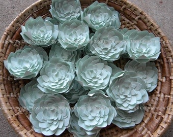 Paper Succulents - Sage Green - For Favor Boxes - Place Cards - Cake Toppers, Table Decor, Weddings - 50 pcs - Made to Order