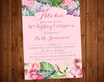 Tropical Hawaiian Printable Birthday Invitation