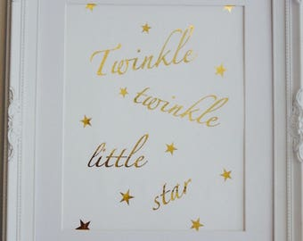 A4 Wall Art - Gold Foil Print - Twinkle Twinkle Little Star - Nursery Rhyme Print - Childs Bedroom Print - Unframed Wall Art