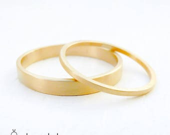 Gold Wedding Band Set. Gold wedding ring. Wedding band. Womans wedding band. Mens wedding band. Wedding band. Thin wedding band. Skinny ring