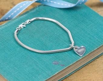 Fine Silver Heart Bracelet - Simple Heart Bracelet - Silver Heart Charm - Heart Charm Bracelet - Silver Bracelet - Silver Charm Bracelet