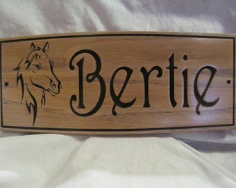 """Horse Stable Sign  Personalised  with  Image  130x300x12mm 5 1/4x12x1/2"""" Solid Oak."""