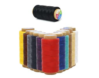 Mandala Crafts® 210D 1mm, 180M, Leather Sewing Stitching Flat Waxed Thread String Cord, Many Color Selections