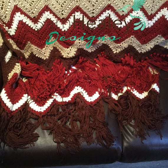 Hand crochet afghan blanket