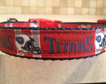 Tennessee Titans Small and Medium Dog Collar with Optional Matching Leash