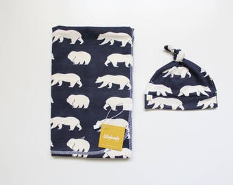 Swaddle Blanket / Navy Swaddle Blanket / Bear Swaddle Blanket / Woodland Swaddle Blanket / Receiving Blanket / Baby Boy Swaddle Blanket