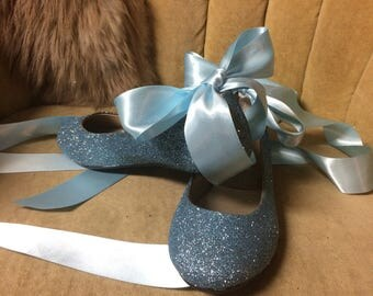 Blue glitter lace up ballet flats. Custom made to order. Woman sizes only.