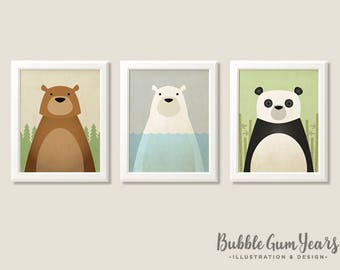 Woodland nursery art, woodland animals, bear prints, nursery art, nursery wall art, nursery print, polar bear, panda bear, nursery