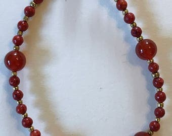 Carnelian and Coral Magnetic Bracelet