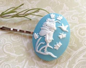 Whimsical White on Blue Fairy Hair Clip