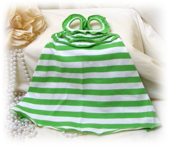 Handmade (SMALL+) DOG DRESS . . Doggie Sundress . . Adorable in Green Stripes . . . (Custom Clothes Orders Welcome)