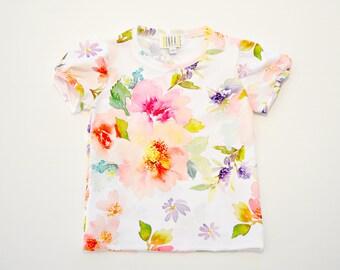 Girls Watercolour Floral Rashie, girls rash shirt, girls swimwear, girls rashguard, girls wetshirt, girls swimmers