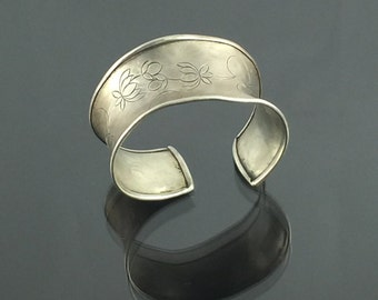 Gorgeous Handmade Whimsical and Assymetrical Wide Silver Cuff with Cherry Engravings