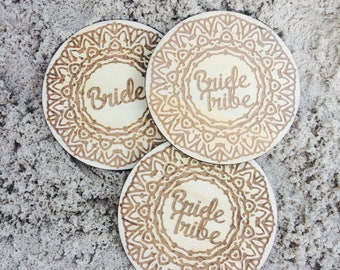 Hens Night wood etched badge - 5pk