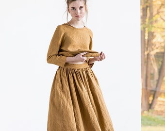 "Linen skirt ""1950s CITY"" with deep pockets / A - line washed linen skirt / Midi linen skirt / High waist  linen skirt in amber yellow"