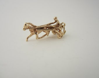 10k Gold Harness Racing Charm, 10k Yellow Gold Charm, Horse Racing, Horse Jewellery
