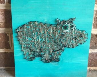 Hippopotamus Animal String Art Wood Sign Wall Art Home Decor, Kid's Room-Kid Decor